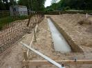 Bewehrung für Fundament, einschalen, betonieren, später Sand auffüllen